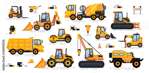 Fotografía  Cement mixer industrial machinery isolated icons set vector