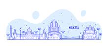 Kolkata Skyline West Bengal India City Line Vector