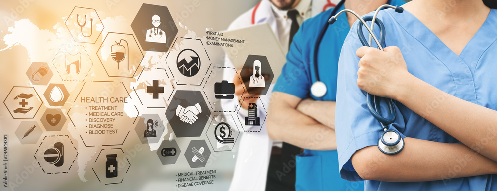 Fototapeta Health Insurance Concept - Doctor in hospital with health insurance related icon graphic interface showing healthcare people, money planning, risk management, medical treatment and coverage benefit.