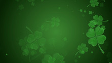 St Patrick's Day Illustration, Clover Leafs Rotating On The Green Background