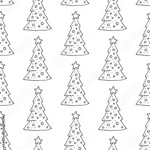 Cute Cartoon Christmas Tree Pattern With Hand Drawn Christmas Trees