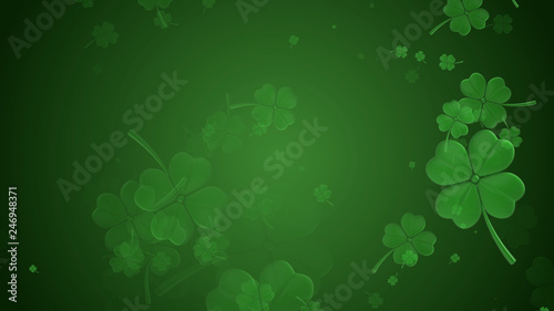 Obraz St Patrick's day illustration, clover leafs rotating on the green background - fototapety do salonu