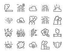 Set Of Air Pollution Icons, Su...