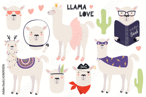 Set of cute funny llamas, Christmas, astronaut, ballerina, pirate, superhero. Isolated objects on white. Hand drawn vector illustration. Scandinavian style flat design. Concept for children print.