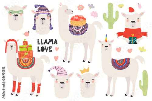 Printed kitchen splashbacks Illustrations Set of cute funny llamas, Christmas, superhero, princess, unicorn. Isolated objects on white background. Hand drawn vector illustration. Scandinavian style flat design. Concept for children print.