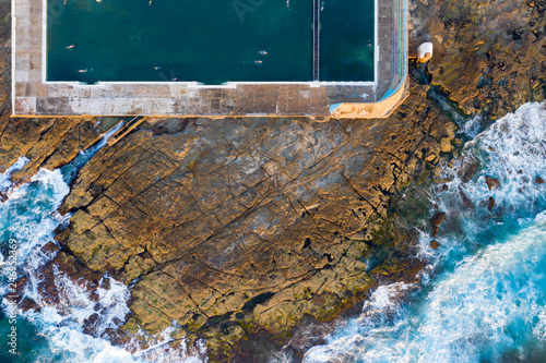Poster Oceanië Aerial view of Newcastle Baths famous landmark in Newcastle NSW Australia