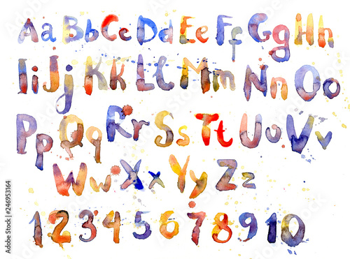 Fotografía  English alphabet, numbers and letters in watercolor, set