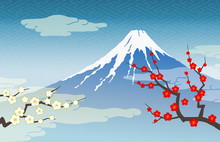Mount Fuji Red And White Plum
