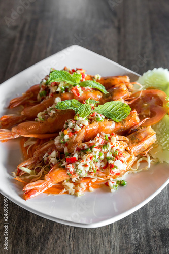 Tiger prawn spicy salad,