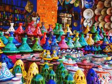 Colored Tajine, Plates And Pot...