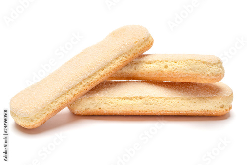 Foto Traditional Italian Savoiardi ladyfingers Biscuits on White Background