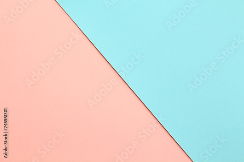 Fotografiet  Abstract geometric water color paper background in soft pastel pink and blue trend colors with diagonal line