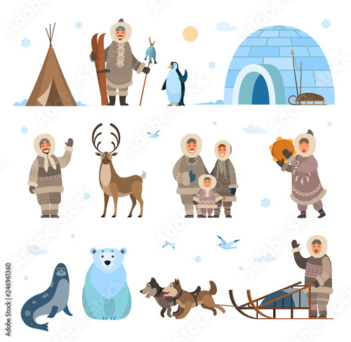 Fototapeta Arctic expeditions and discoveries North pole vector. Animals penguin and bear grizzly, husky and dogs with sledges, inuits and huts snowflakes snowfall obraz