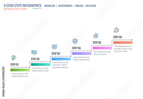 Stair steps, Achievement Ladder, Timeline Infographics template