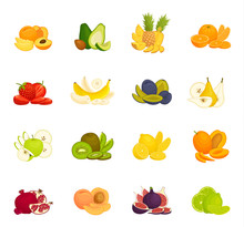Set Of Various Fruits. Whole H...