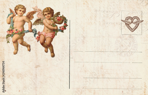 Slika na platnu Vintage Valentine Day Card with cherubs and heart