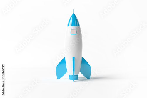 Fotografie, Obraz Old school style rocket isolated on white 3D rendering