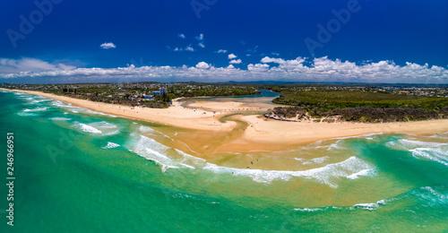 Poster Cote Aerial drone view of beach at Currimundi Lake, Caloundra, Sunshine Coast, Queensland, Australia
