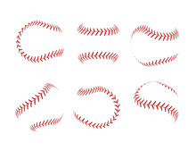 Baseball Lace Ball Illustration Isolated Symbol Set. Vector Baseball Background Sport Design