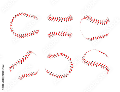 Baseball lace ball illustration isolated symbol set Wallpaper Mural