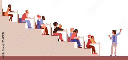 Students in the lecture hall Canvas Print