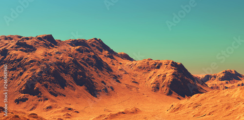 Door stickers Orange Glow Mars landscape, 3d render