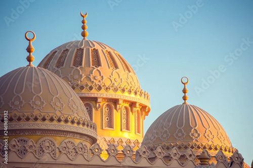 Beautiful architecture of Mosque in Hurghada town, Egypt