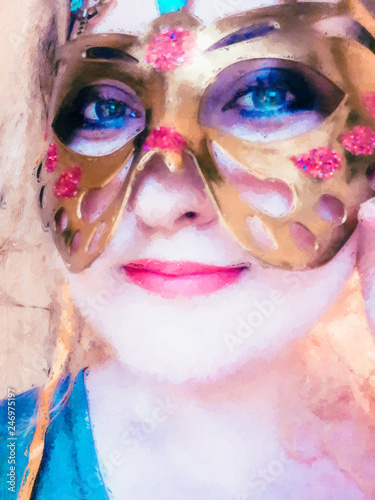 Fototapety, obrazy: Woman colorful portrait in a masquerade mask. Oil painting of an attractive woman in butterfly mask. Carnival, festival, New year, party. For design, cover, surface, cards, invitations, greetings