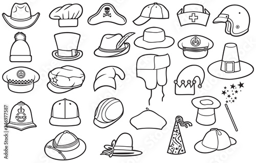 af048d27cd602 Different types of hats thin line icons set (cowboy
