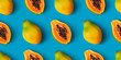 canvas print picture - Papaya fruit seamless pattern on blue color background