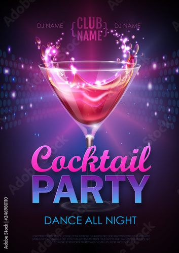 Fotomural  Disco cocktail party poster vector illustration