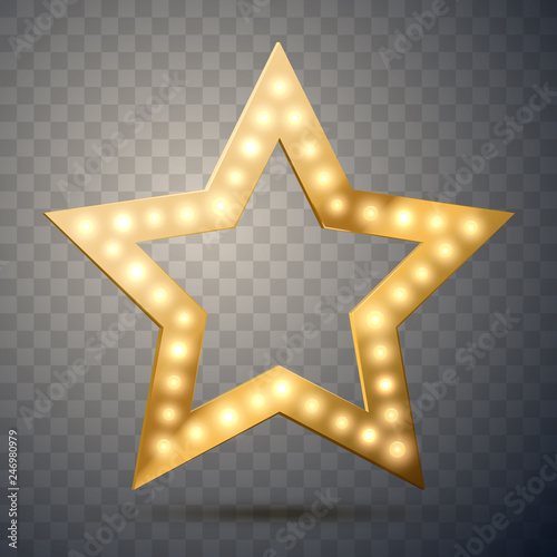 Star with lights isolated. Vector illustration Canvas Print