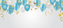 Blue Balloons, Vector Illustra...