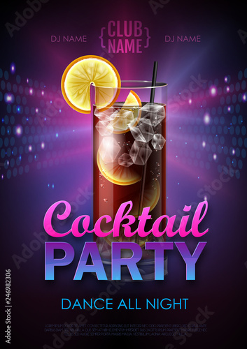 Cuadros en Lienzo Disco cocktail party poster vector illustration