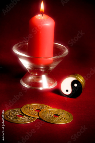 Fotomural Yin yang symbol with candle like chinese oriental astrology concept