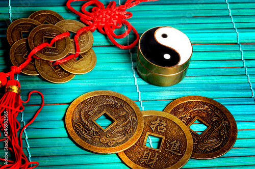 chinese good luck coins with yin yang like Feng Shui, I Ching,  and china astrol Wallpaper Mural