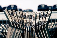 Typewriter Hammers Close Up