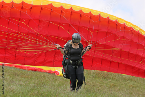 Paraglider launching in the Brecon Beacons