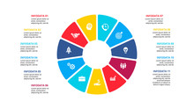 Flat Circle Element For Infographic With 11 Parts, Options Or Steps. Template For Cycle Diagram, Graph, Presentation And Chart