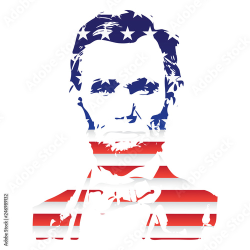 Photographie  Silhouette of Abraham Lincoln from the texture of the National Flag of the United States