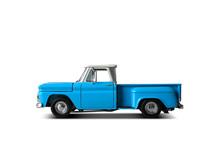 Retro Blue Pickup On A Light Background