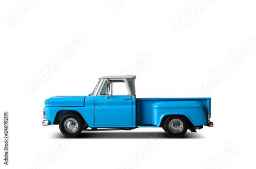 Retro blue pickup on a light background © Zarya Maxim
