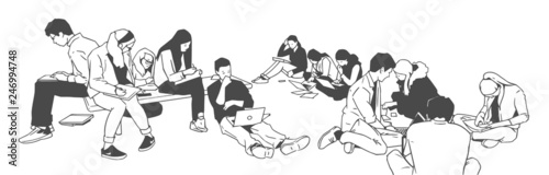 Keuken foto achterwand Muziekband Illustration of students studying together