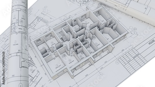 Fotografie, Obraz  Built walls of a house on construction drawings