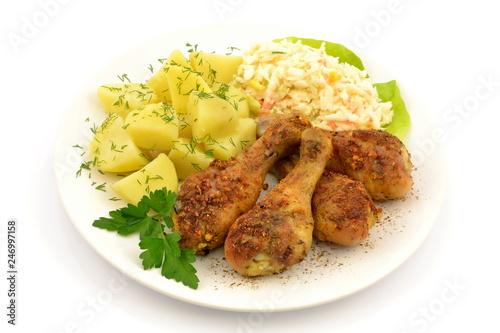 podudzia z kurczaka pieczone z ziemniakami i surówką