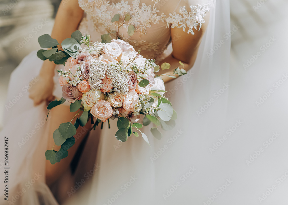 Fototapety, obrazy: Beauty wedding bouquet in bride's hands. Wedding day