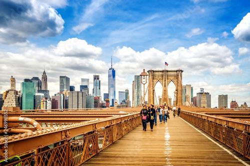 Poster New York City Brooklyn Bridge and Skyline of Manhattan, New York, USA