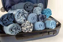 Rolled Clothing In Carry On Suitcase