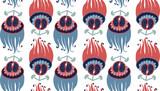 Wektor kwiatowy wzór. Uzbecki suzani narodowy ornament do haftu tekstylnego. Arabski, indyjski, turecki styl tło kwiaty. Czeski ornament do kranów. - 247001936