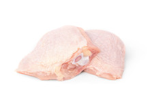 Raw Chicken Thigh Isolated On White Background.